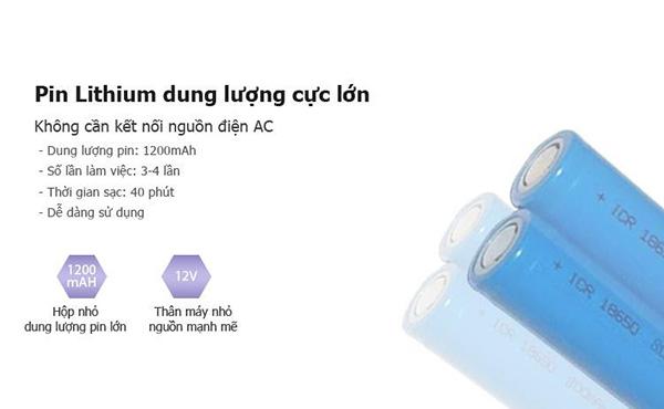 Tích hợp Pin Lithium dung lượng lớn