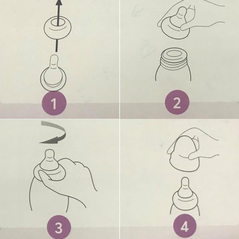 Cách lắp bình sữa Pigeon cổ hẹp