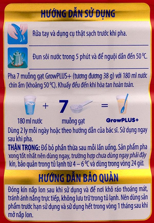 Cách pha sữa Grow Plus 1+ theo hướng dẫn nhà sản xuất