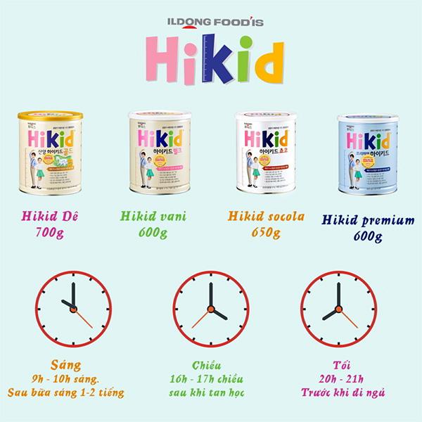 Thời gian và lượng sữa Hikid cần bổ sung cho bé mỗi ngày