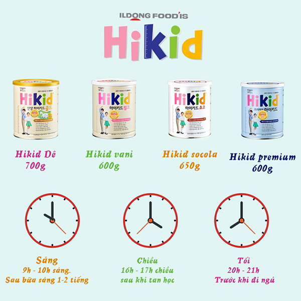 So sánh các dòng sữa Hikid Hàn Quốc