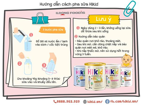 Hướng dẫn cách pha sữa Hikid theo khuyến cáo của nhà sản xuất