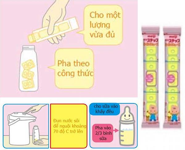 Chi tiết cách pha sữa Meiji số 0 dạng thanh