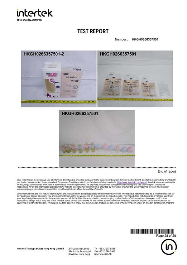 bình sữa Kidboss PPSU đều được kiểm định và cấp giấy chứng nhận theo tiêu chuẩn Châu Âu bởi Intertek - Anh Quốc.